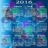 European calendar of 2016. Stock Photos