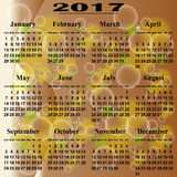 European calendar of 2017. Royalty Free Stock Photo
