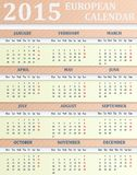 European Calendar for 2015 Stock Photo