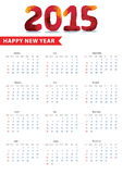 European calendar with Triangles, polygons.2015 Happy new year Royalty Free Stock Photos