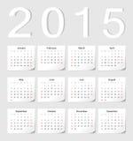 European 2015 calendar. European 2015 vector calendar with shadow angles Royalty Free Stock Photography