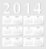 European 2014 calendar Royalty Free Stock Images