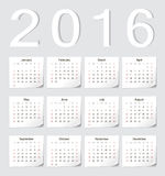 European 2016 calendar. European 2016 vector calendar with shadow angles. Week starts from Sunday Royalty Free Stock Image