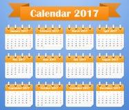 European Calendar for 2017. Week starts on Monday Royalty Free Stock Image