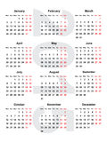 European calendar 2015 Royalty Free Stock Photo