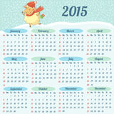 European Calendar 2015 year. 2015 year calendar with cute sheep vector illustration