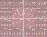 European calendar for 2014 year. Royalty Free Stock Images