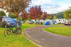 European campsite for cars and trailers Stock Photo