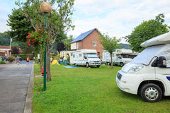 European campsite for cars and trailers Stock Photos