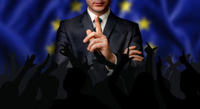 European candidate speaks to the people crowd Stock Photo