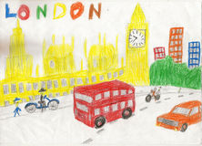 European capital, sketch, London, modernist style, background, c. European capital, sketch, London, by kid style, background, colors illustration Stock Photos