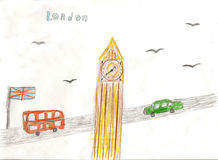 European capital, sketch, London, modernist style, background, c. European capital, sketch, London, by kid style, background, colors illustration Royalty Free Stock Photo