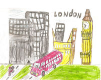 European capital, sketch, London, modernist style, background, c. European capital, sketch, London, by kid style, background, colors illustration Stock Photo