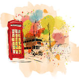 European capital, sketch, London, modernist style. European capital, sketch, London modernist style background colors Stock Image