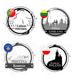 European capitals stamps Royalty Free Stock Photo