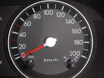 European Car Speedometer. In black and white, reading zero speed Stock Image