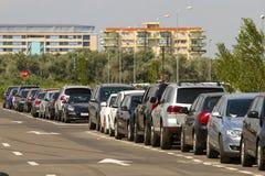 European cars parked alongside road Stock Photos