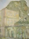 European castle abstract painting on silk. Stock Images