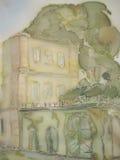 European castle abstract painting on silk. stock illustration