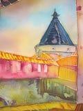 European castle abstract painting on silk. Batik. vector illustration