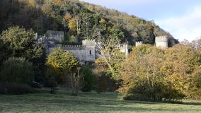 European castle on hillside establishing shot surrounded by trees for feature film, Gwrych Castle stock video