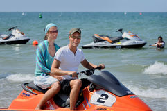 European Caucasian couple visit tourist hot spot beach of Terengganu. Stock Photography