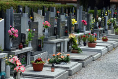 European Cemetary. With flowers royalty free stock photos