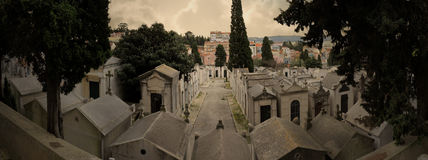 European cemetery panorama Royalty Free Stock Photo