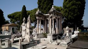 European cemetery with tombs and sculptures. Action. Beautiful landscape of european cemetery with its amazing variety