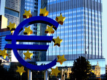 European Central Bank, Frankfurt. The Euro currency symbol outside of the European Central Bank in the city center of Frankfurt, Germany Royalty Free Stock Photography