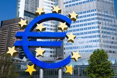 The European Central Bank in Frankfurt -  Euro sign Royalty Free Stock Photography