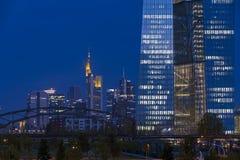 European Central Bank. Frankfurt am Main, Germany - September 9, 2015: Skyline of Frankfurt and new building of the European Central Bank (ECB Stock Image