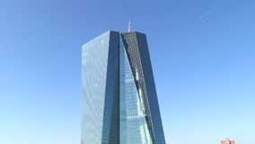 European Central Bank headquarters Frankfurt, Germany stock footage