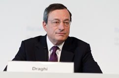 European Central Bank President Mario Draghi. Chairs the press conference following the Governing Council meeting of the ECB in Barcelona on May 03, 2012 Royalty Free Stock Photo