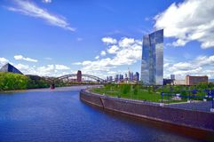 European Central Bank and Skyline of Frankfurt stock image
