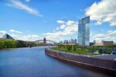 European Central Bank and Skyline of Frankfurt stock images