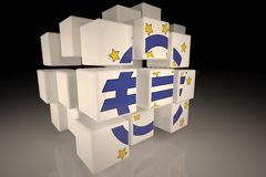 European Central Bank symbol in chaotic cubes. European Central Bank symbol deconstructed  in chaotic cubes Stock Photo