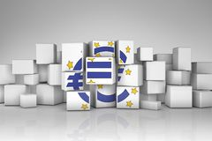 European Central Bank symbol in cubes. European Central Bank symbol deconstructed  in chaotic cubes Royalty Free Stock Photo
