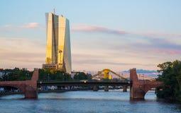 European Central Bank on twilight in Frankfurt Royalty Free Stock Photo