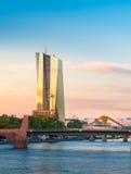 European Central Bank on twilight in Frankfurt Stock Photo