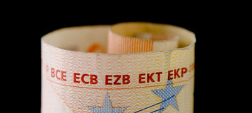European central banks on Euro note Royalty Free Stock Photo