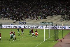 European Champions League Football. Panathinaikos Athens vs. Sparta Praha - European Champions League Qualifying Game.  August 4, 2009 at Olympic Stadium, in Stock Photos