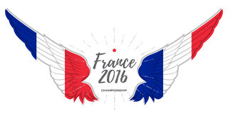 European championship 2016. Abstract Wing with France flag color. S Stock Photos