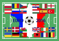 European championship on football 2016 in France. Football ground with flags of participants of the European championship on football 2016 in France Royalty Free Stock Image