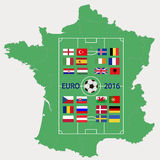 European championship on football 2016 in France. Football ground with flags of participants of the European championship on football 2016 against a France map Stock Images