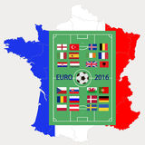 European championship on football 2016 in France. Football ground with flags of participants of the European championship on football 2016 against a map-flag of Stock Photography