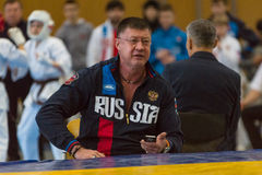 European championship Kyokushin World Union KWU for Children and Youth 2017. BERLIN - MARCH 18, 2017: Emotions of the team coaches during the sparring. European Stock Photos