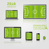 European championship 2016 template. TV screen, lcd monitor, notebook, tablet computer, mobile phone, smart watch with footbal field on screen. European Stock Images