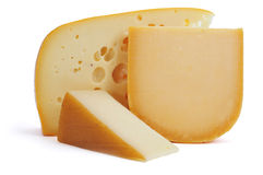 European cheese assortment. Closeup of some pieces of cheese, such as Gouda or Leerdammer Royalty Free Stock Image