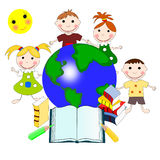 European children with books and a map of the world, education. Concept, illustration Royalty Free Stock Image